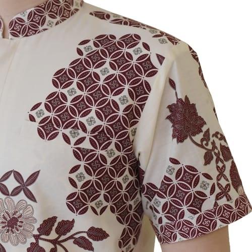 Images Batik Koko Pria Lengan Pendek Putih