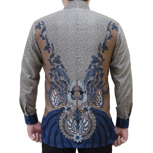 Gambar Kemeja Batik Semi Sutra Formal Abu
