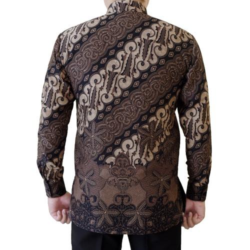 Gambar Kemeja Batik Semi Sutra Motif Coklat Klasik