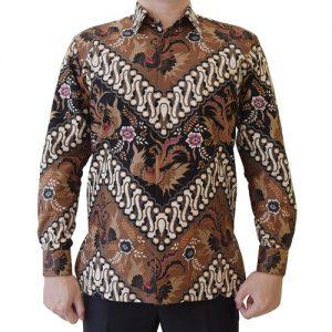 Kemeja Batik Katun Motif Coklat Klasik