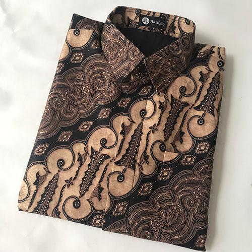 Pictures Kemeja Batik Semi Sutra Motif Coklat Klasik