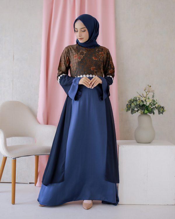 Dress Batik Hanlee Biru 2